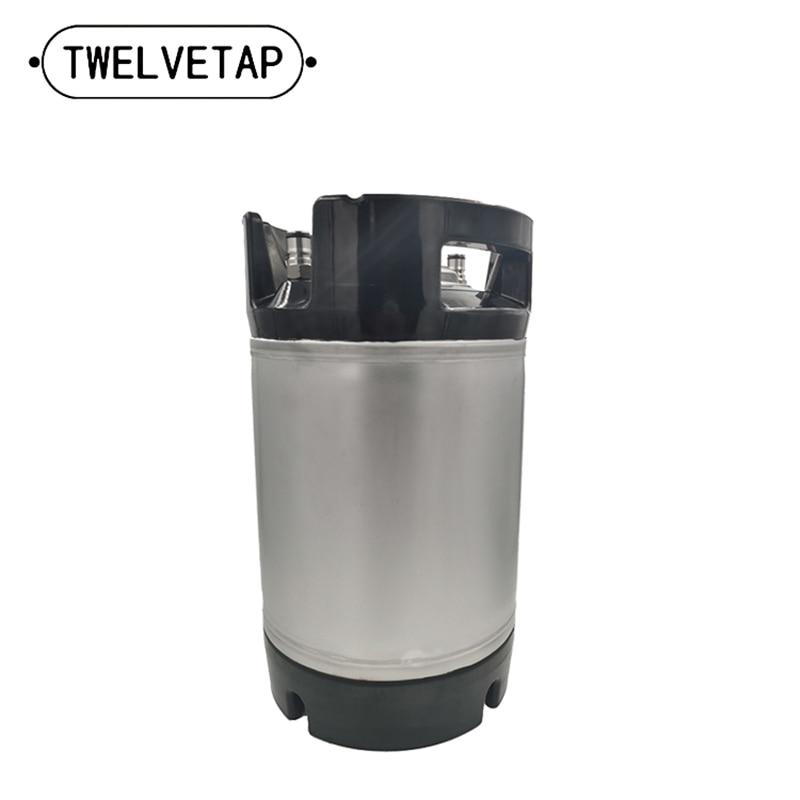 Barril de mango de goma para cerveza 2,5 Gal, barril de acero inoxidable para cerveza casera, tapa superior a prueba de fugas, Cubo de cerveza, tipo de bloqueo de bola de 9.5L