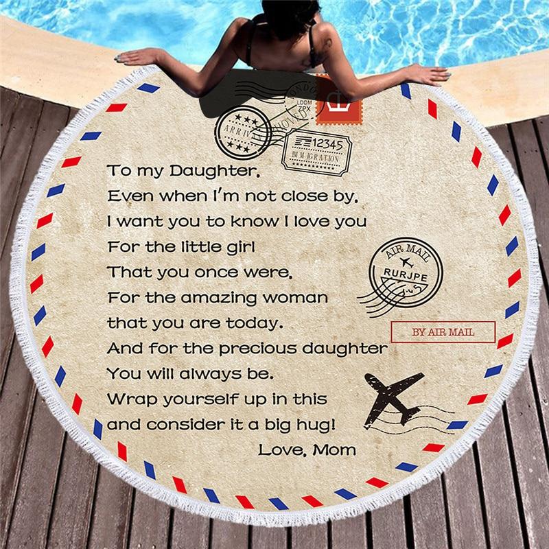Serviettes de plage en microfibre de haute qualité à ma fille fils Air Mail imprimer serviette de plage serviette de bain ronde pour enfant cadeau de famille