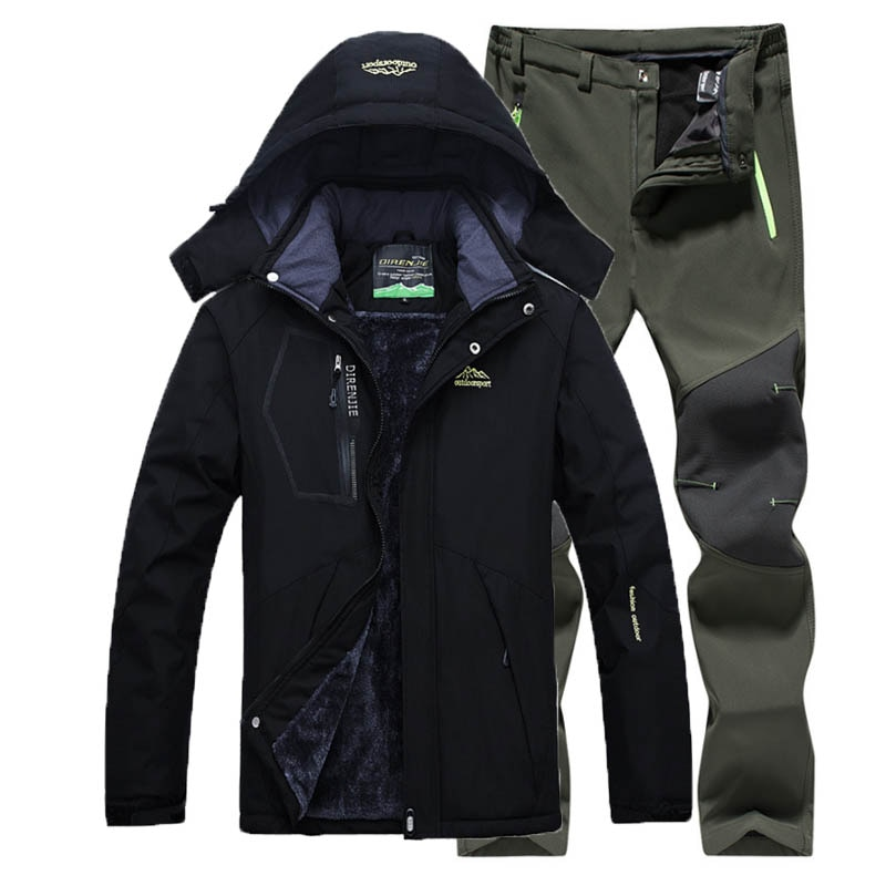 Al aire libre chaqueta + pantalones de lana de invierno de senderismo chaquetas pantalones de senderismo hombres traje de esquí a prueba de viento impermeable prendas de vestir impermeable rompevientos