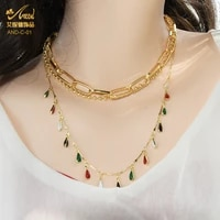 aniid fashion multilayer necklace women dripping oil pendant chain punk jewelry metal choker chunky vintage boho charms clavicle