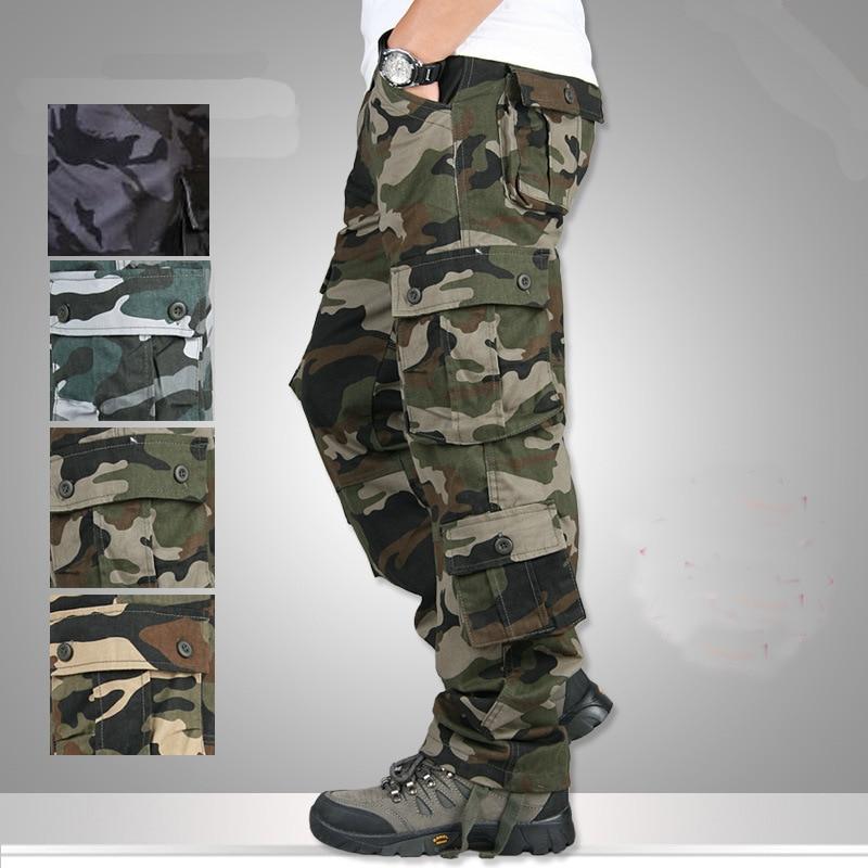 Camouflage Trousers Men's Multi-pockets Cargo Pants Casual Loose Zipper Straight Pants Plus Size Men's Battlefield Pants zipper fly pockets embellished plus size cargo pants