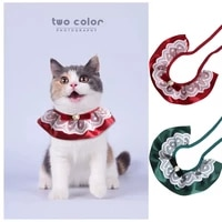 pet cat lace collar smooth ribbon lace collar cats and dogs saliva towel dogs collar cats and dogs lace collar accessories