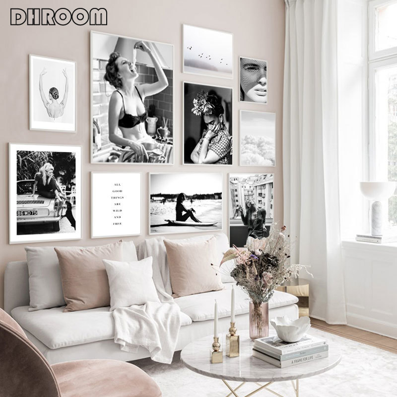 Модная холщовая картина с принтом для девочек, черно-белая настенная живопись, скандинавские минималистические плакаты, настенные картинк...