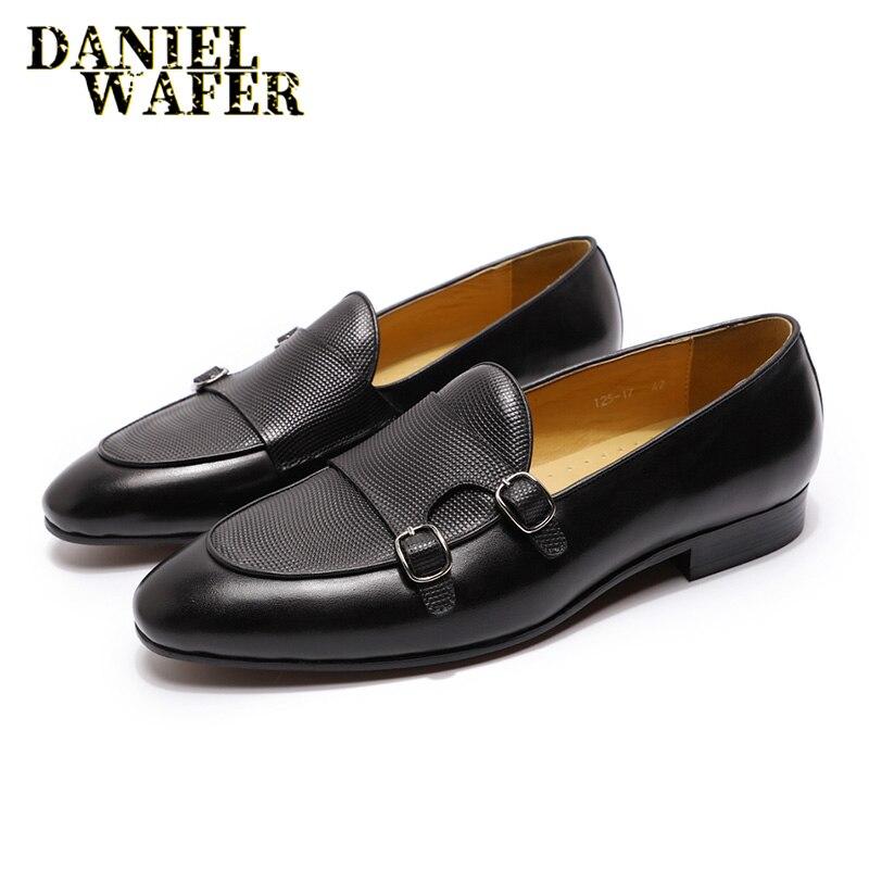 Zapatos de vestir de lujo para hombre, mocasines de cuero, marrón, negro, doble correa de monje, zapatos informales para hombre, zapatos de cuero para oficina y boda para hombre