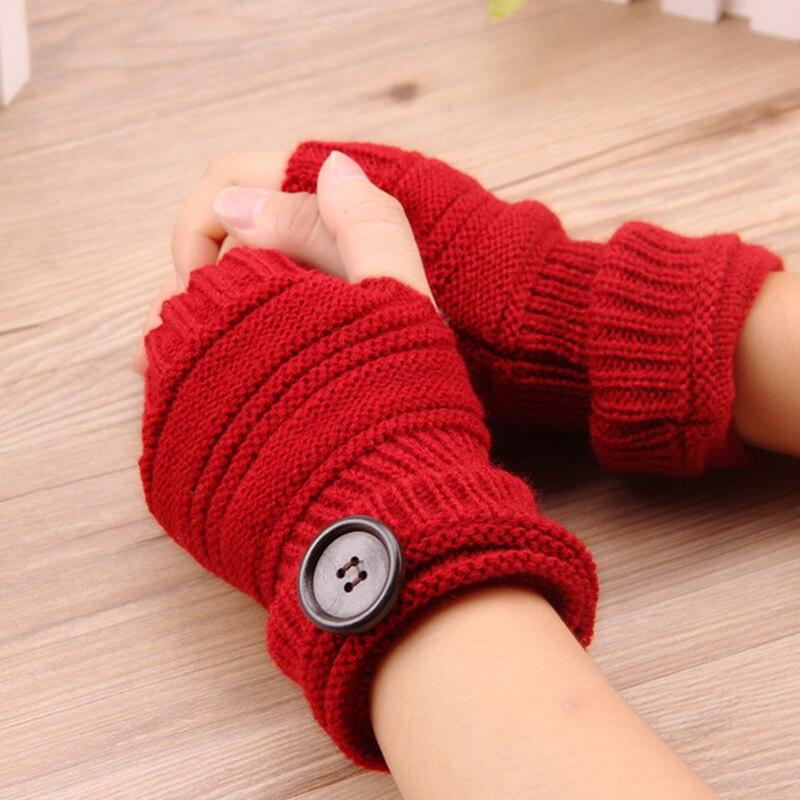 Nova moda luvas de inverno feminino outono inverno luvas de malha sem dedos botão de cor sólida sem dedos luvas sem dedos