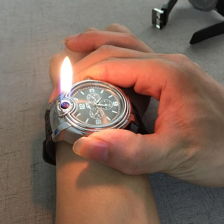 1PC Watch Inflatable Butane Lighter Metal Cigarette Electronic Cigarette Lighter Toys Gadget Men No