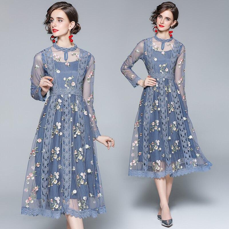 Simgent Mesh Lace Embroidery Dress Women Long Sleeve A Line Elegant Vintage Midi Long Dresses Autumn 2021 Vestidos SG18121 plain lace embroidery a line beach dress