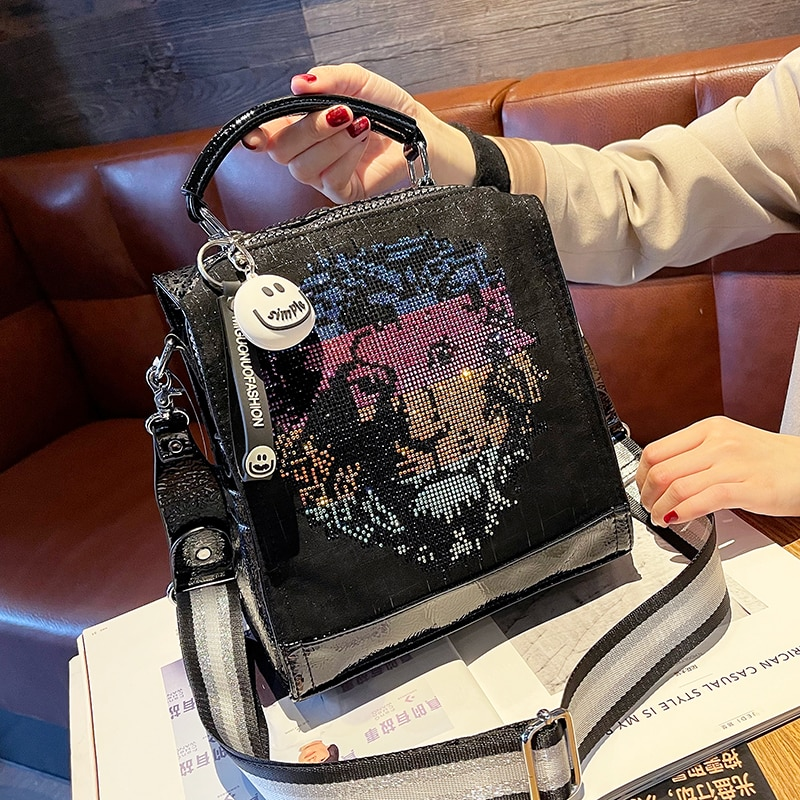 Rhinestone Butterfly Lion Head Corduroy Backpacks for Women Travel Bolsa Feminina School Bag Pack Multifunctional Mochila