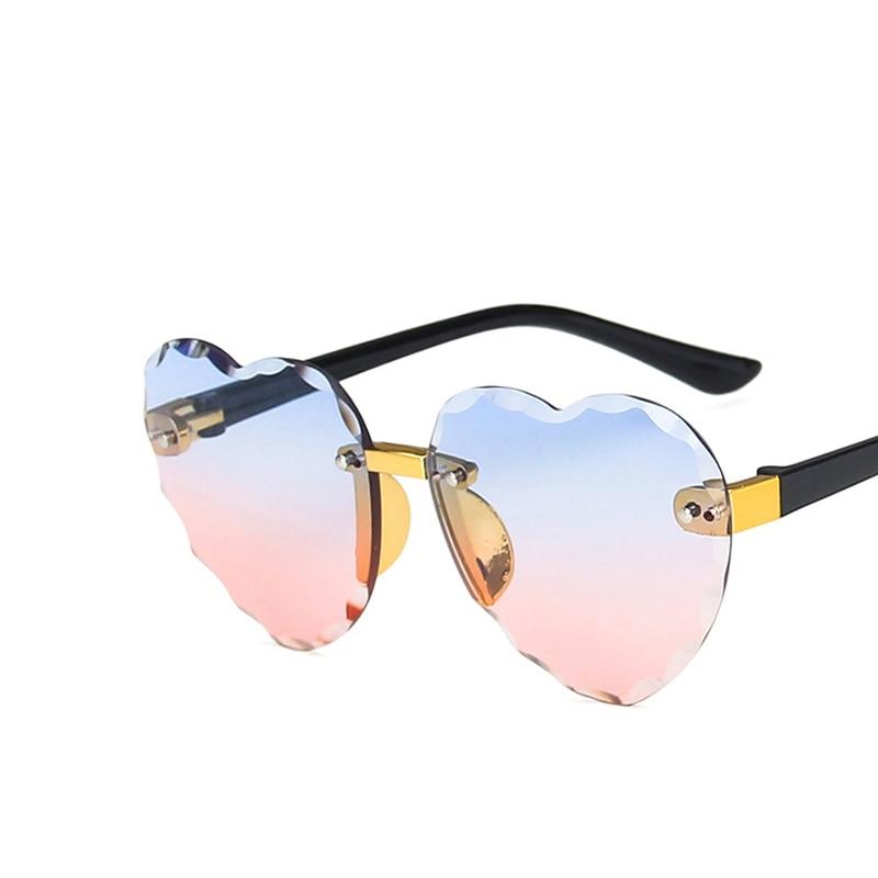 Child Cute Heart Rimless Frame Sunglasses Children Kids Gray Pink Red Lens Fashion Boys Girls UV400