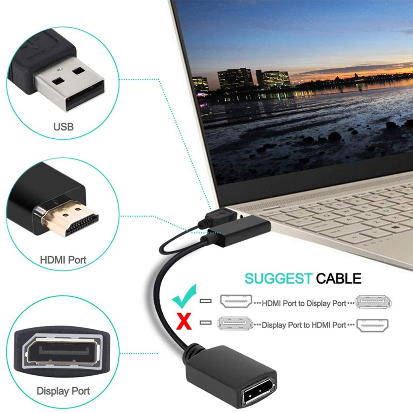 Adaptador de puerto de pantalla 4K alimentado por USB HDMI, compatible con...