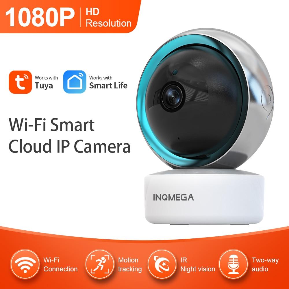 INQMEGA 1080P Tuya كاميرا IP ذكية صغيرة تعمل بالواي فاي كاميرا إنذار داخلية لاسلكية لمراقبة المنزل CCTV كاميرا مراقبة