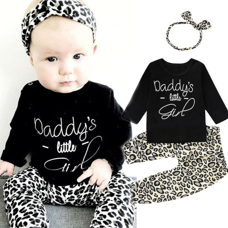 Комплект из 3 предметов для новорожденных, одежда с леопардовым принтом для маленьких девочек черные топы с длинными рукавами + штаны + повязка на голову одежда для малышей