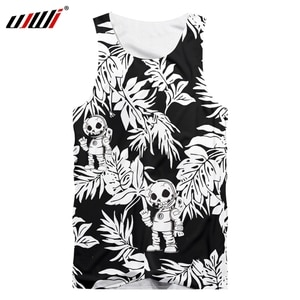 UJWI new men's skull vest punk style black and white leaf 3D tank top hip-hop funny sleeveless top 3D printed summer clothes 4XL