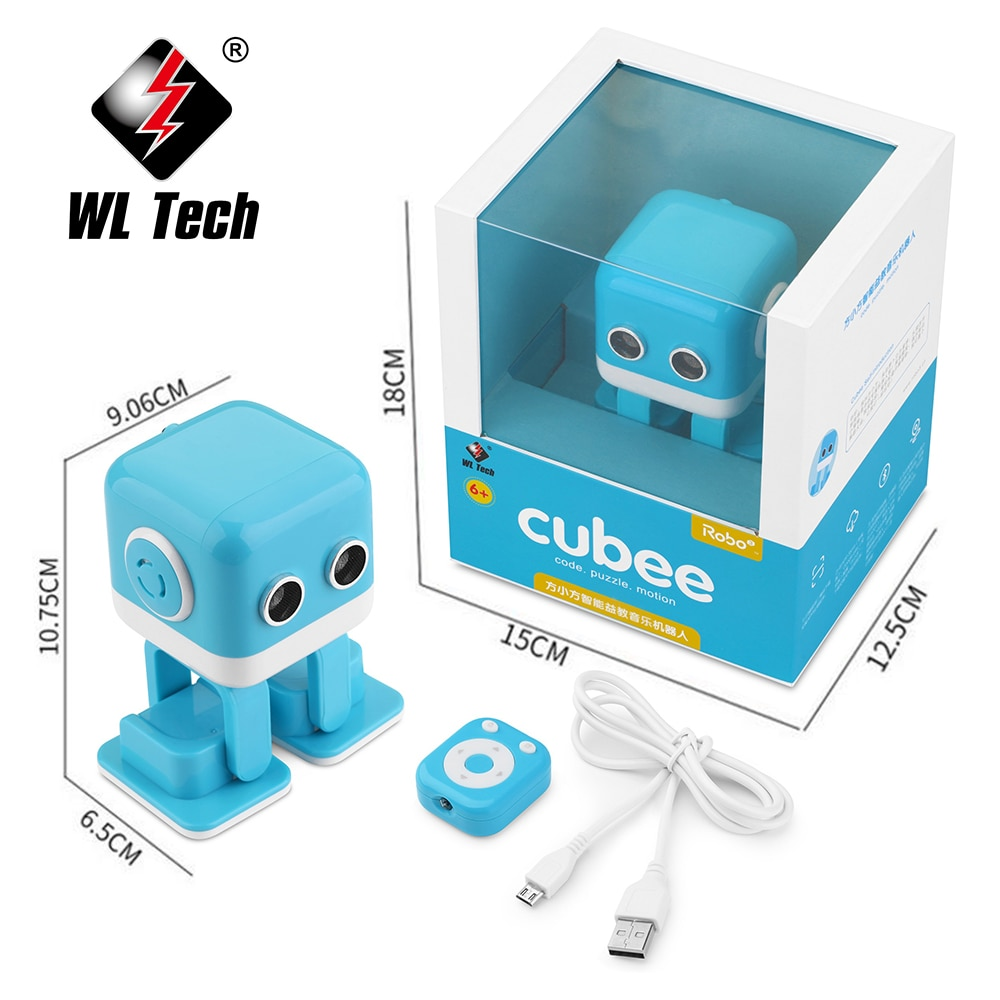 WLTOYS Cubee RC Robot Toy Smart Bluetooth Speaker Intelligent Musical Dancing Machine LED Face Desk