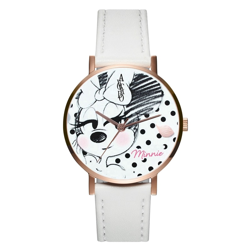 New Women'S Watch Minnie Mouse Quartz WristWatches Rose White Leather WatchBands Fashion Cartoon Girl Timer