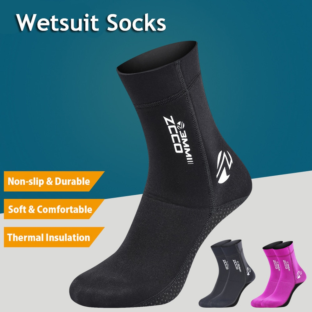 1 Pair New 3mm Neoprene Diving Socks Non-slip Adult Warm Patchwork Wetsuit Shoes Diving Surfing Boot