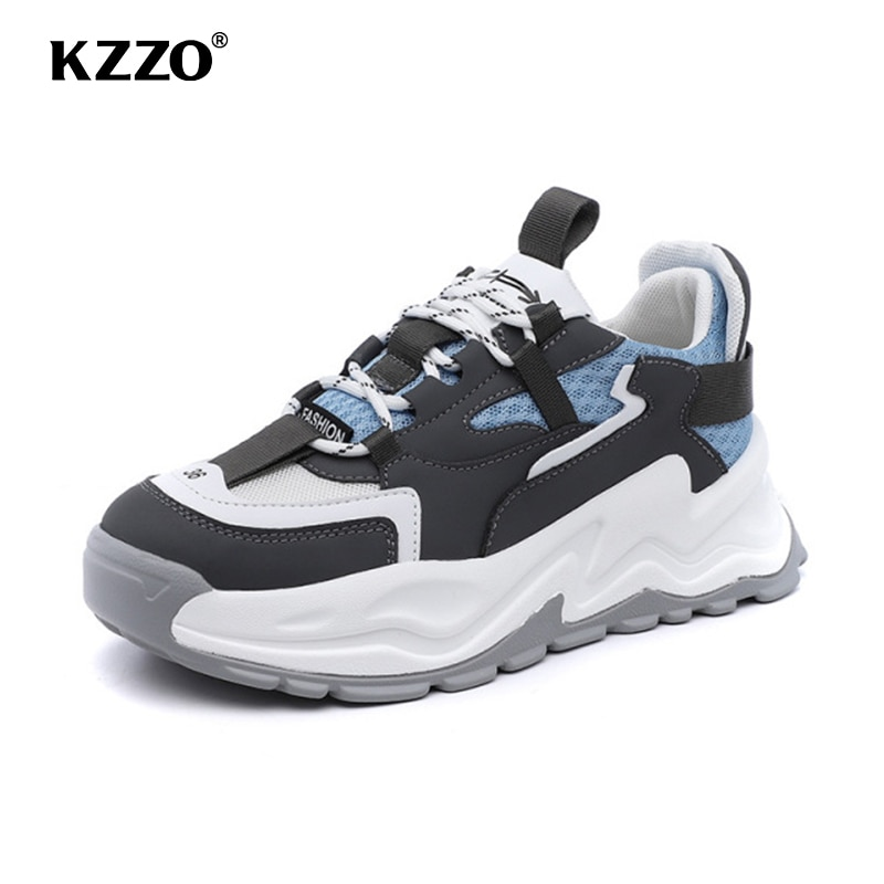 KZZO New Fashion Spring Genuine Cow Leather Women Casual Sneakers Shoes Autumn Flats Girls for Walking Lace Up Rubble Sole