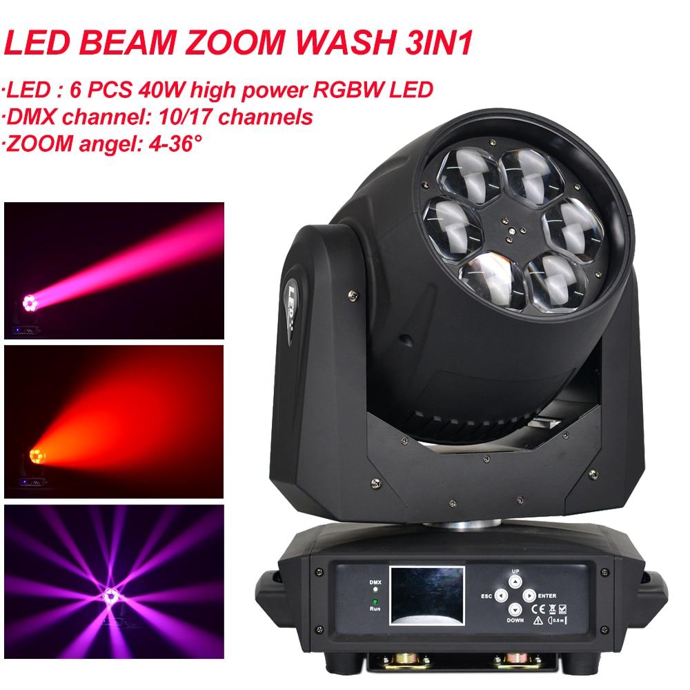 6x40 واط LED شعاع التكبير غسل 3IN1 تتحرك رئيس ضوء RGBW المهنية المرحلة حفلة ديسكو DJ LED النحل العين شعاع تتحرك إضاءة أمامية