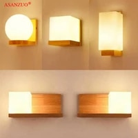 square solid wood wall lamps glass lampshade wall lamp for living room aisle decoration light fixture e27