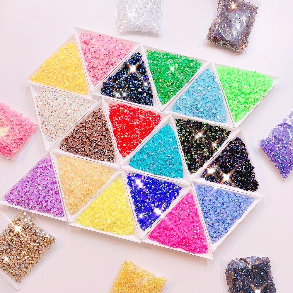 2000 unids/lote SS6 2,0mm brillante colorido Jelly AB sin fijación en caliente pegamento para diamantes de imitación de resina en decoraciones de arte DIY hecho a mano