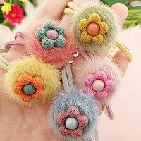new cute flower hair ball hair ring female rubber band elastic hair bands korean headwear children hair accessories ornaments