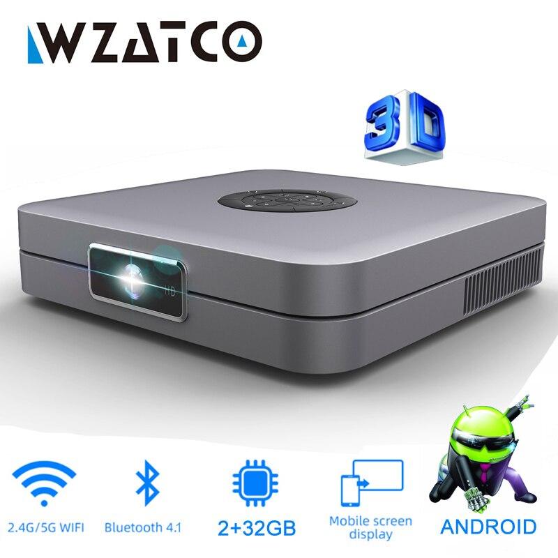 WZATCO D1 DLP ثلاثية الأبعاد العارض 300 بوصة السينما المنزلية دعم كامل HD 1920x1080P ، 32GB أندرويد 5G واي فاي AC3 فيديو متعاطي المخدرات جهاز عرض صغير