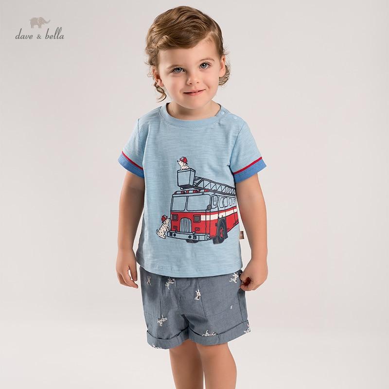 DBA16206 ديف بيلا طفل الفتيان الصيف ملابس منقوشة الكرتون مجموعات الاطفال الصبي موضة قصيرة الأكمام مجموعات الأطفال 2 قطعة دعوى