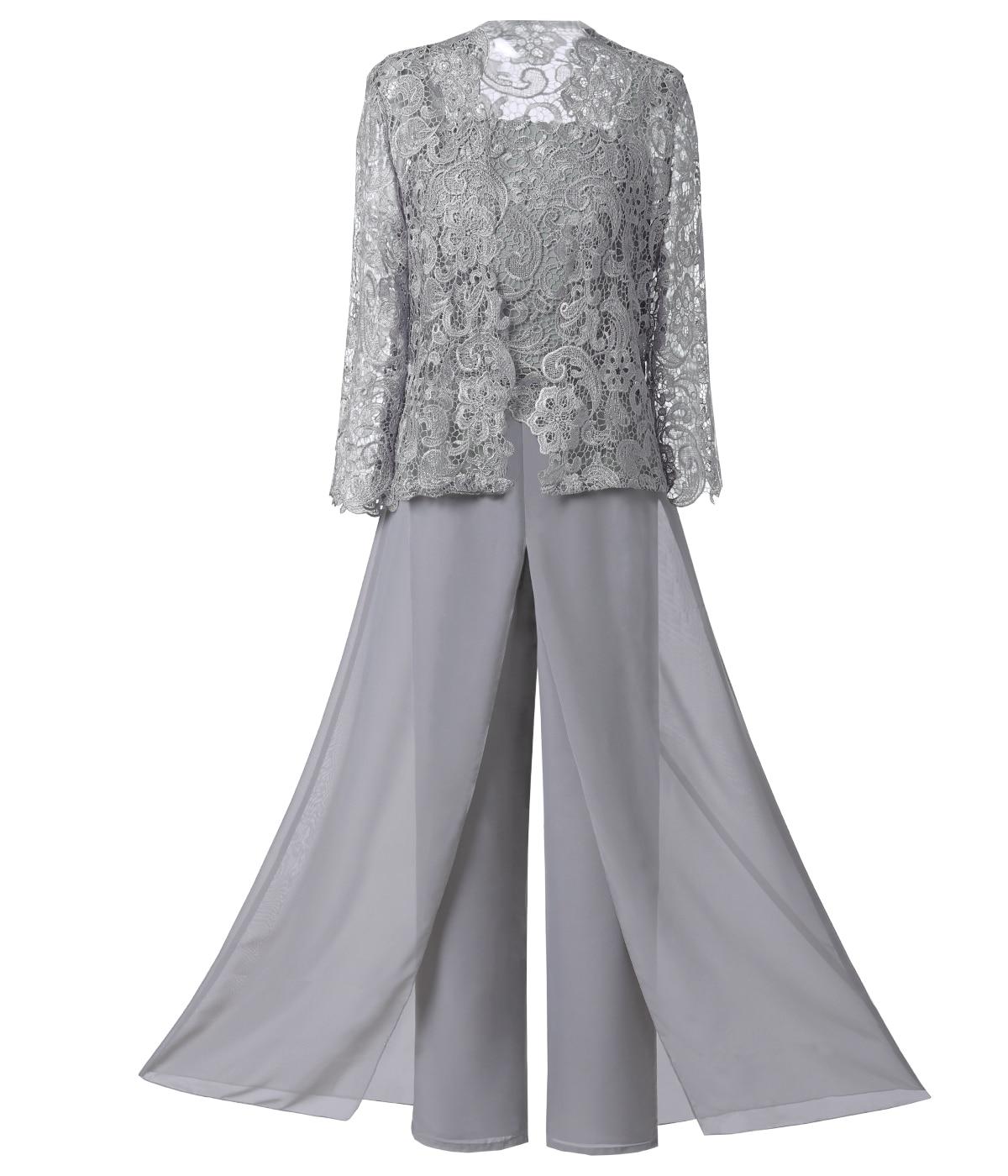 الدانتيل المرأة البدلة 3 قطع الأم Pantsuit مجموعات أنيقة الصلبة قميص طويل الأكمام مع سترة الإناث حجم كبير لحفل الزفاف