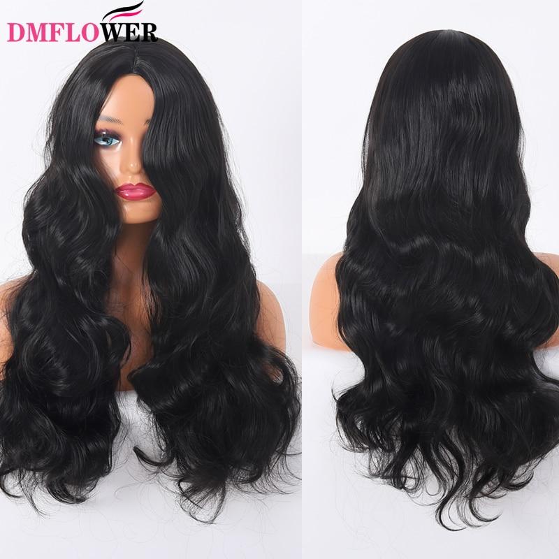 laco preto peruca de renda sintetica longo cabelo encaracolado onda grande 1b cabelo