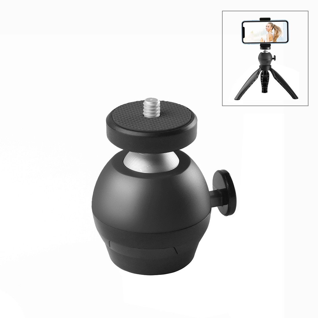 cnc aluminum alloy 1 inch ball head mount adapter with m5 screw holes for diving sports dslr camera bracket tripod clip adapters PULUZ 1/4 inch Screw CNC Aluminum Alloy Ball Head ABS Tripod Adapter for Camera Smartphone
