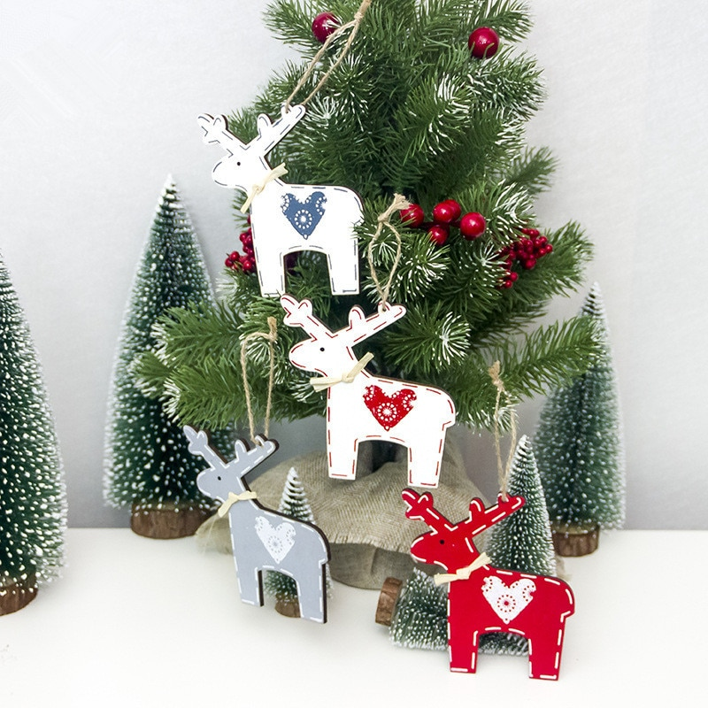 1 pçs papai noel boneco de neve veados árvore de natal pingentes artesanato pendurado ornamento ano novo decoração de natal casa festa suprimentos 62877