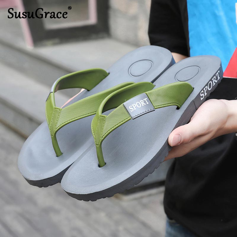 Susugrace Casual Men Flip Flops Comfy Non Slip Shoes Soft Sole Male Slippers Clip Toe Lightweight Beach Zapatos De Hombre Summer