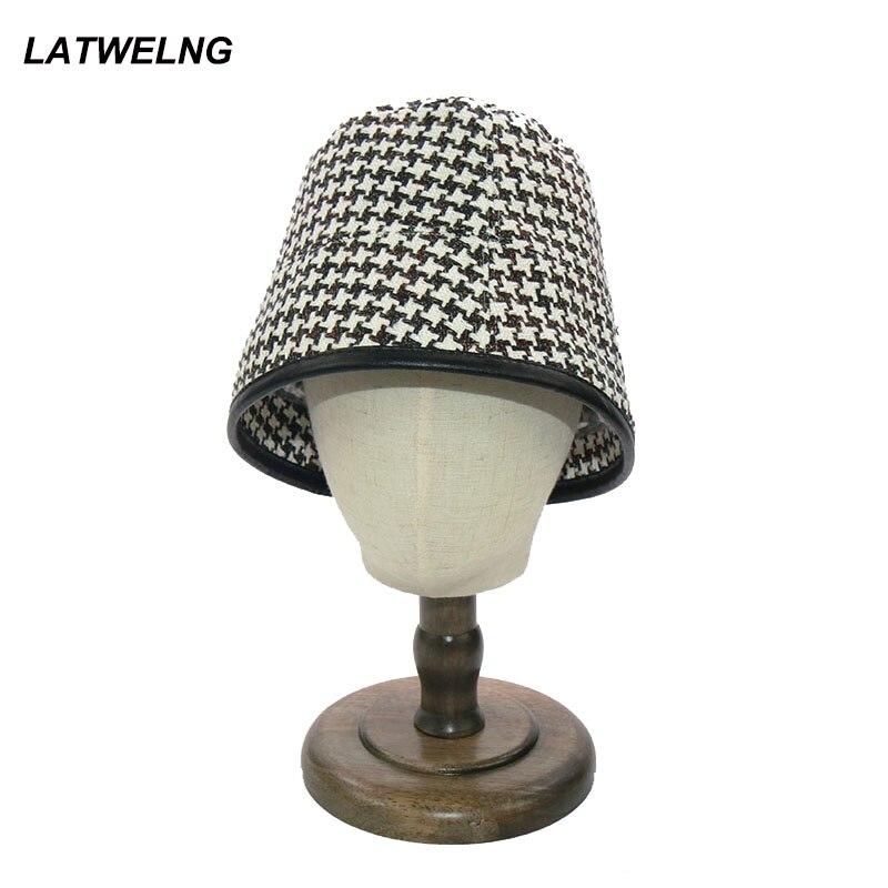 Nuevo sombrero de pescador de la vendimia de la manera para las mujeres Beige Plaid sombreros de pesca gorras plegables del Hip Hop