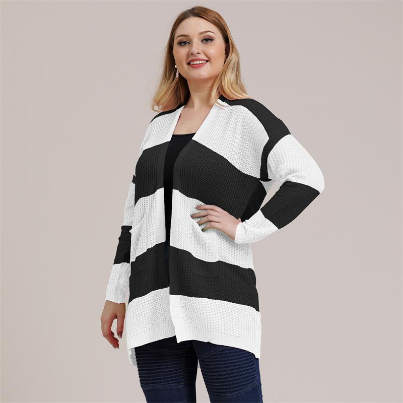 Fioncrow Cardigan Striped Sweater Plus Size 2021 Autumn Winter Women Kawaii Top Knitted Long Sleeve Oversized Casual Top