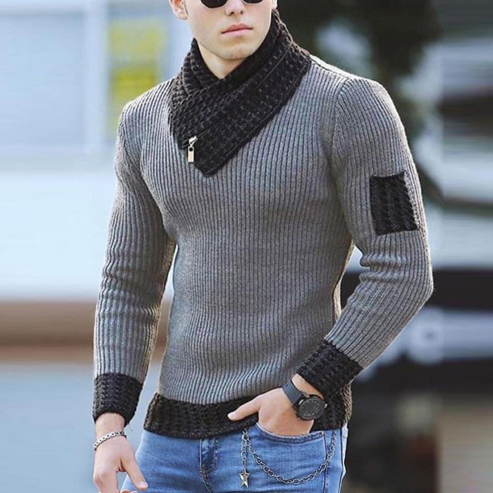 Men Long Sleeve Scarf Collar Sweater Soft Color Block Slim Fits Casual Knitted Sweaters Lightweight Pullover Streetwear brief round collar color block knitted women pullover