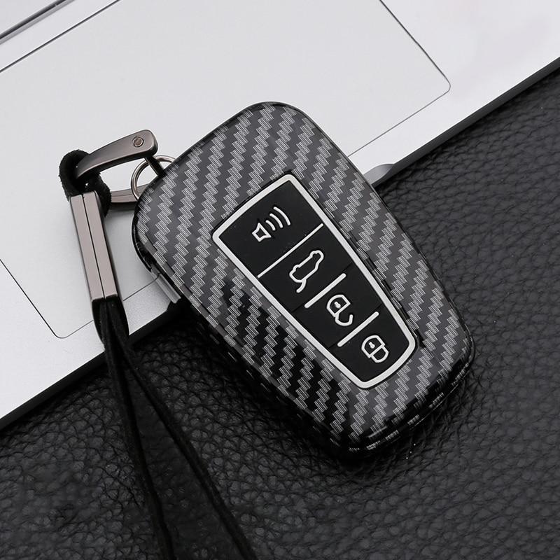 Nova fibra de carbono silicone caso capa chave do carro para toyota rav4 corolla camry prado 150 avalon prius 2018 2019 2020 acessórios