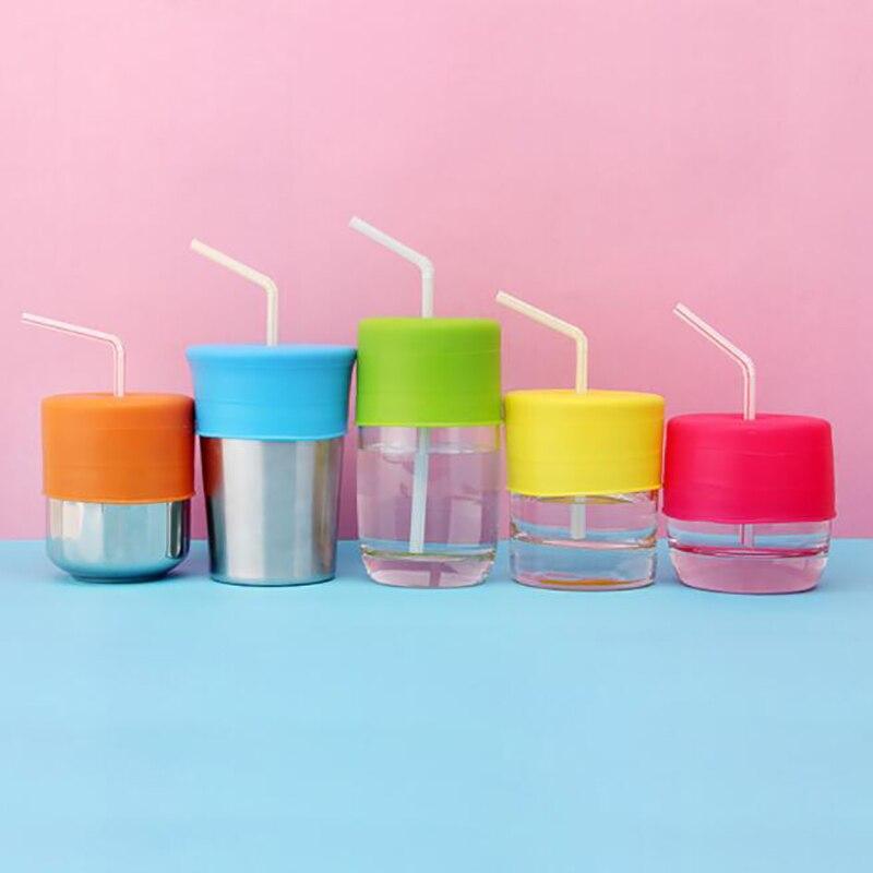 Tapa de silicona de Color caramelo, tapa de vaso a prueba de fugas, tapas de vidrio para niños, tapas de vaso de silicona a prueba de fugas