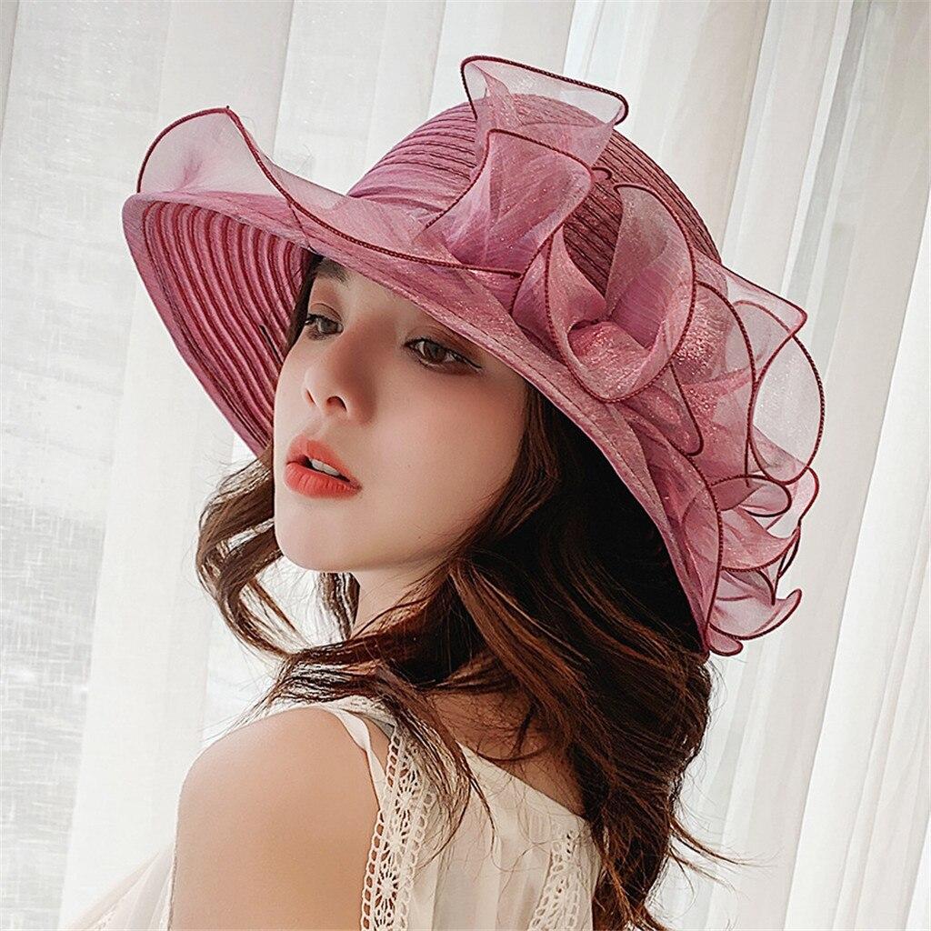 Sombrero de cubo a la moda, sombrero de Organza para mujer para la Iglesia de Kentucky Derby, tocado nupcial para fiesta del té, accesorios de flores, sombrero de boda L511