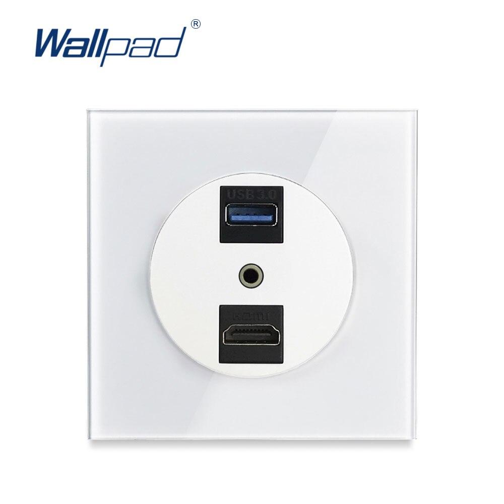 3.0 usb hdmi 3.5 portas de conexão áudio wallpad nova chegada painel vidro cristal tomada parede para transmissão dados