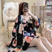 summer robe sleep suit women cotton print pajamas gown set v neck nighties pijama home nightwear 2021 spring nightdress robe set