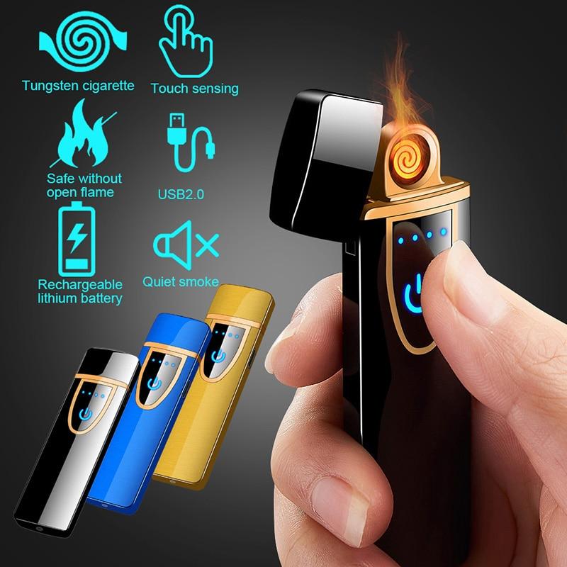 Mechero eléctrico recargable por USB con pantalla táctil de arco de tungsteno a prueba de viento sin llama, cigarrillo ultrafino, bobina delgada de encendedor de fuego ^