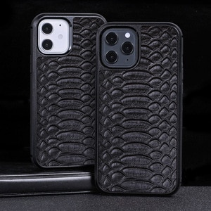 Suitable for iPhone 12 Phone Case Iphone12promax Python Pattern Top Layer Leather Phone Case