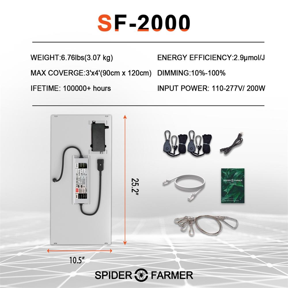 Spider Farmer SF 2000 Samsung Led LM301D Led Grow Light Dimmable and 140x70 Reflective Aluminum Grow Tent for Indoor Plants enlarge