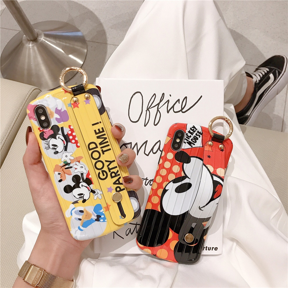 Maleta equipaje Mickey Minnie Pato Donald cordón funda para teléfono para iphone 11 pro 6s 7 8 plus X XR XS cubierta de pulsera de dibujos animados MAX