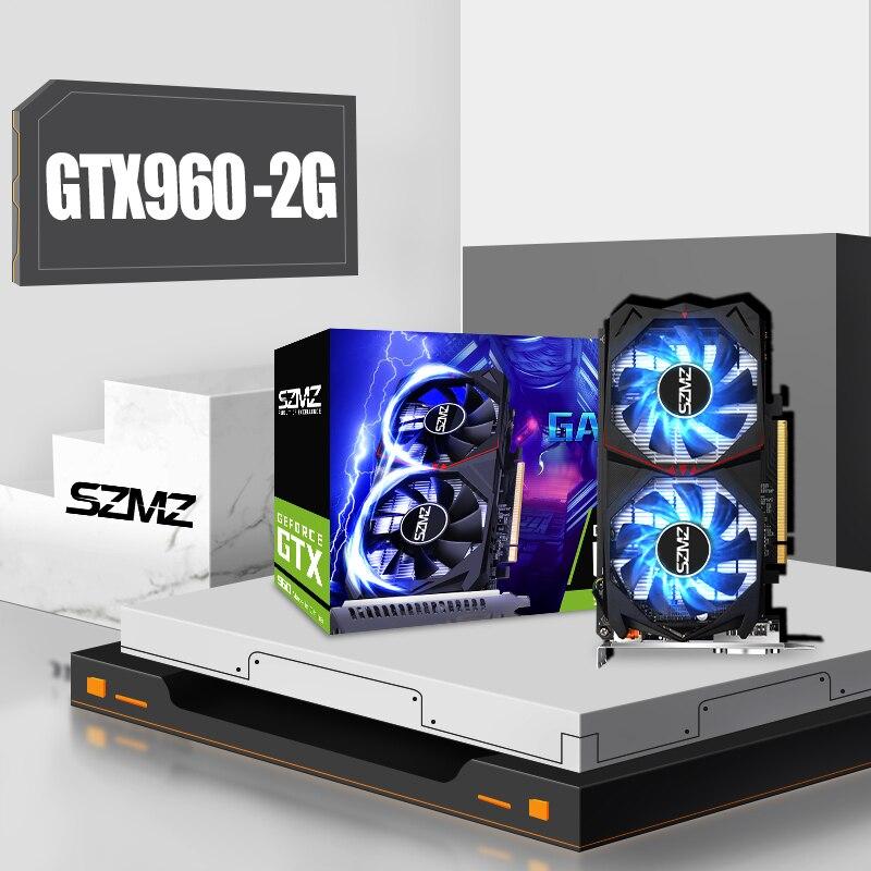 SZMZ بطاقات الرسومات الكمبيوتر GTX960 2GB 128Bit الأصلي الجديد GDDR5 ل NVIDIA VGA Geforce GTX 960 HDMI متوافق مع لعبة Dvi