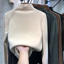 Knitted Sweater Women Clothing Autumn And Winter Half High Collar De Cashmere Bottomed Shirt And Cas