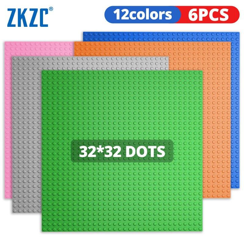 ZKZC 32x32 ترصيع لوحات قاعدة 6 قطعة مجموعة أرقام الطوب قاعدة لوحات المدينة الكلاسيكية لتقوم بها بنفسك اللبنات baseدر لعب للأطفال