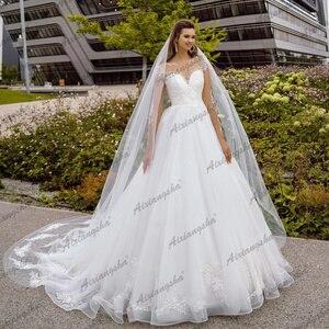2021 White Illusion Long Sleeve Scoop Bridal Gowns Lace Up Boho Appliques Wedding Dress Gown Sofuge Vestido De Noiva Dubai