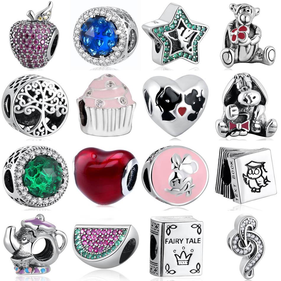 S925  Jewelry Apple Tiger Donkey Watermelon Red Heart Potts Book Sweet Music Treble Cake Charms fit Pandora Bracelets