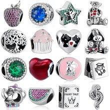 S925 Silber Schmuck Apple Tiger Esel Wassermelone Rot Herz Potts Buch Süße Musik Höhen Kuchen Charms fit Pandora Armbänder